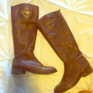Tory Burch brown boots with gold